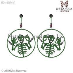 Skeleton Design Silver Gemstone Earring
