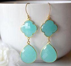 Aqua Chalcedony Gold Vermeil Bezel Set Earrings