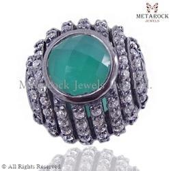 Green Onyx Gemstone Diamond Spacer Finding