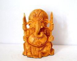 Wooden Golden (Gold Plated) Ganesh Statue, Size(inch): 15 Inch