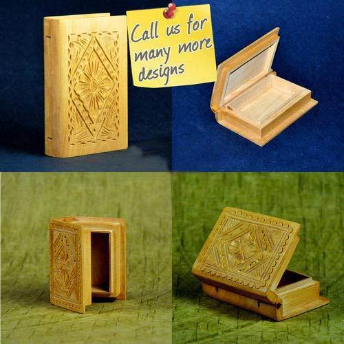 Sheesham Wood Polished Handmade Carved Wooden Jewellery Boxes - Book Shape