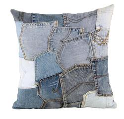Recyled Jeans Patchwork Pocket Cushions Cover