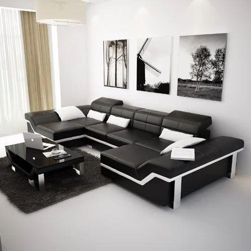Black Italian Leather Sofa