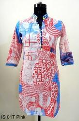 IS 01T Pink Geometric Print Cotton Kurtis