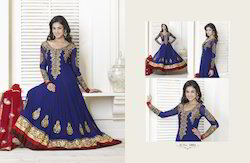Chanderi Anarkali Party Salwar Suit, Dry clean