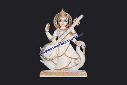 Religious Marble Saraswati Maa Statue