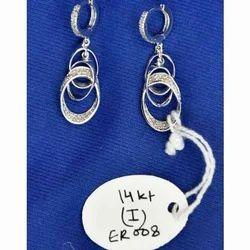 Polki Diamond Silver Earring