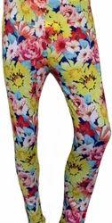 Mid Waist Ladies Cotton Printed Leggings, Skin Fit
