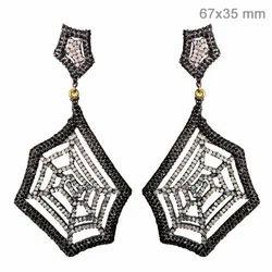 Black Diamond Pave Spider Web Earrings At Rs 89665 87 Pair S Diamond Earring Id 4011327948