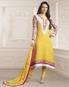 Fantastic Yellow and Off White Churidar Kameez Set