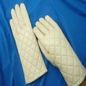 White Leather Full Gloves