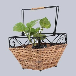 Square Hanging Wicker Planter Basket