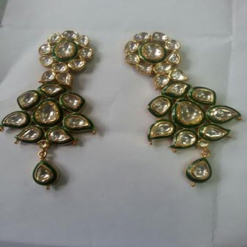 2d82dc6ac7cde Kundan Meena Jewellery - Gold Kundan Meena Polki Designer Earring ...
