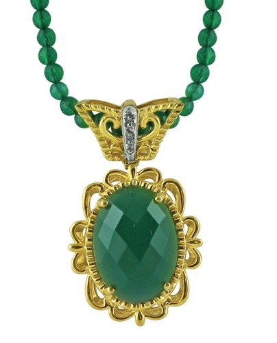 Green onyx gold plated pendant sona chadha laket green onyx gold plated pendant aloadofball Choice Image