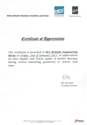 Kirloskar Ebara Pumps Certificate of Appreciation
