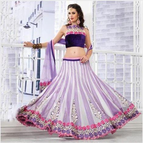 e72afd269d5 Off White and Lavender Net Lehenga Choli - Nihal Fashions