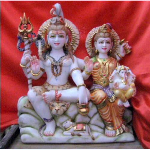 Golden Gold Plated Shiv Parvati Ganesh Ji Statue Packaging Type Wooden Box Size Dimension 3 Feet Id 9565871630