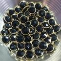 Gold Plated Black Onyx Gemstone Connector