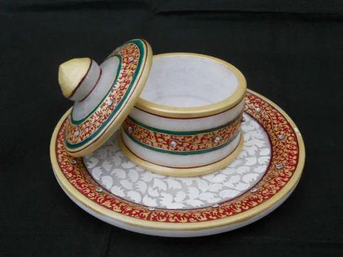 Marble Dry Fruit Tray Suparidan Pot With Trey Handicraft Unique Employee  Appreciation Gifts