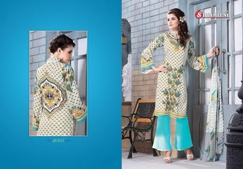 Chanderi Cream and Sky Blue Suits, Size: XL