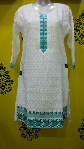 White Embroidered Chikan Kurti