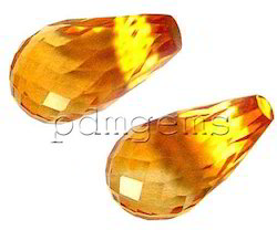 Citrine Fancy Teardrop Briolette Faceted Gemstone