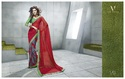 Red Printed Saree with Brasso Pleats