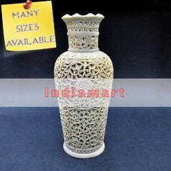Hand carved Soapstone Jali Flower Vase - Many Size