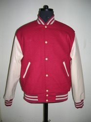 Cardinal Wool Body With Parchment Leather Sleeve Varsity - Unisex