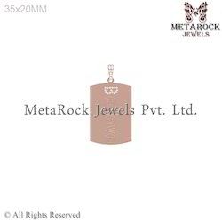 Pave Setting Initial Charm Gold Tag Diamond Pendants Charm