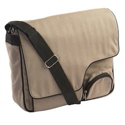 Brown Plain Canvas Laptop Bag