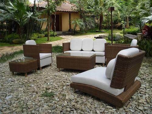 Wicker White and Brown Outdoor Garden Furniture