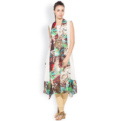 Casual Stylish Ladies Designer Long Printed Kurti