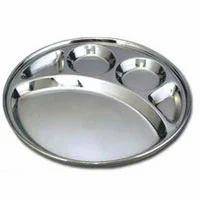 Silver Color Deluxe 5 Compartment Thali, Size: Standard