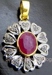 Pave Diamond Ruby Pendant