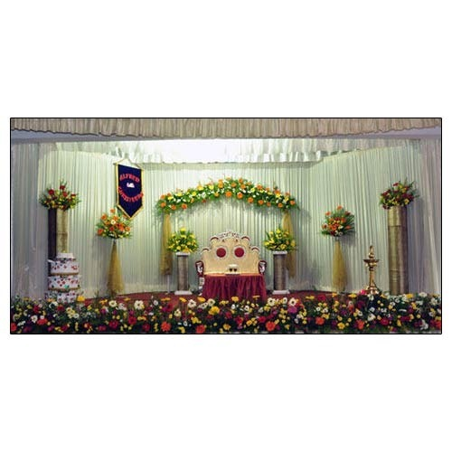 Wedding Stage Flower Decoration: Wedding Stage Decoration Services In Classic Emerald