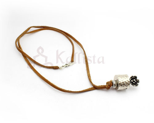 Brown leather necklace with dharma wheel pendant kallista designs brown leather necklace with dharma wheel pendant aloadofball Gallery