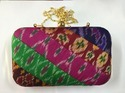Silk Patola Fabric Hard Case Clutch