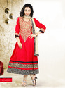 Red Anarkali Semi Stitched Suit