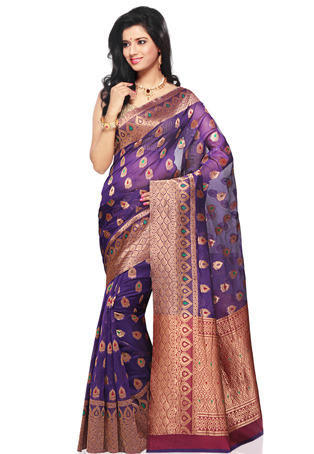 85f2d609db0028 Purple Banarasi Art Silk Saree With Blouse - Rathi Creations ...