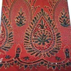 Embroidered Silk Dupioni Fabric