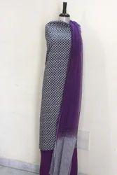 Block Printed Chiffon Dupatta Suit Set