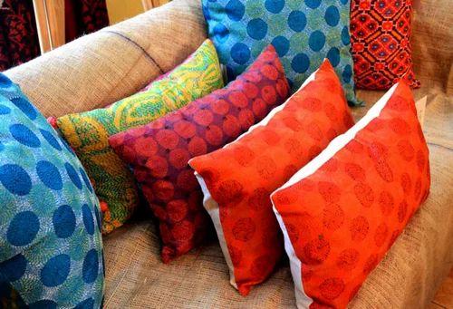 Vintage Silk Sari Kantha Round Pillow Covers