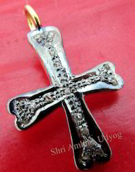 Pave Diamond Cross Charm