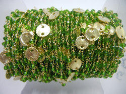 Peridot Quartz Gold Plated Sterling Silver Disk Chain