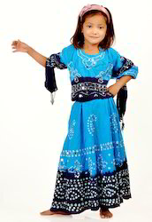 Kids Blue Bandhej Lehenga Choli
