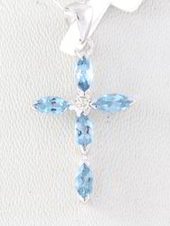 Aquamarine And Diamond 18K White Gold Pendent