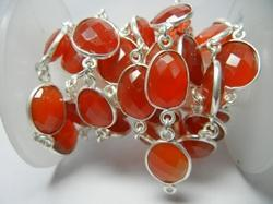 Carnelian Gemstone Bezel Set Connector Station Chain