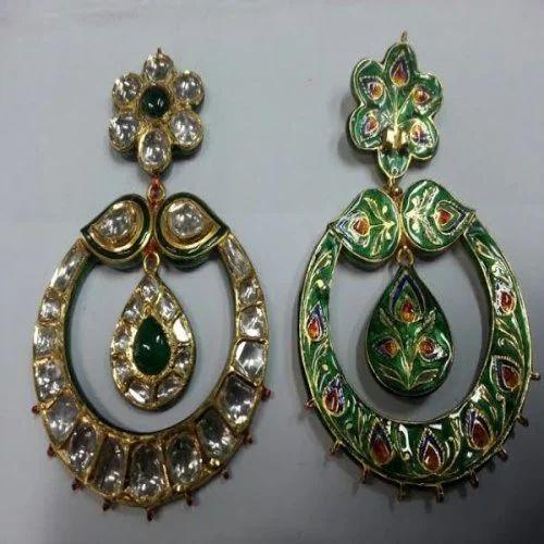 4f6bb7b78e631 Gold Kundan Meena Polki Designer Earring - Jamwal Jewellers, Jaipur ...