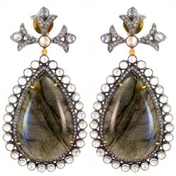 Blue Moonstone Labradorite Gemstone Earring
